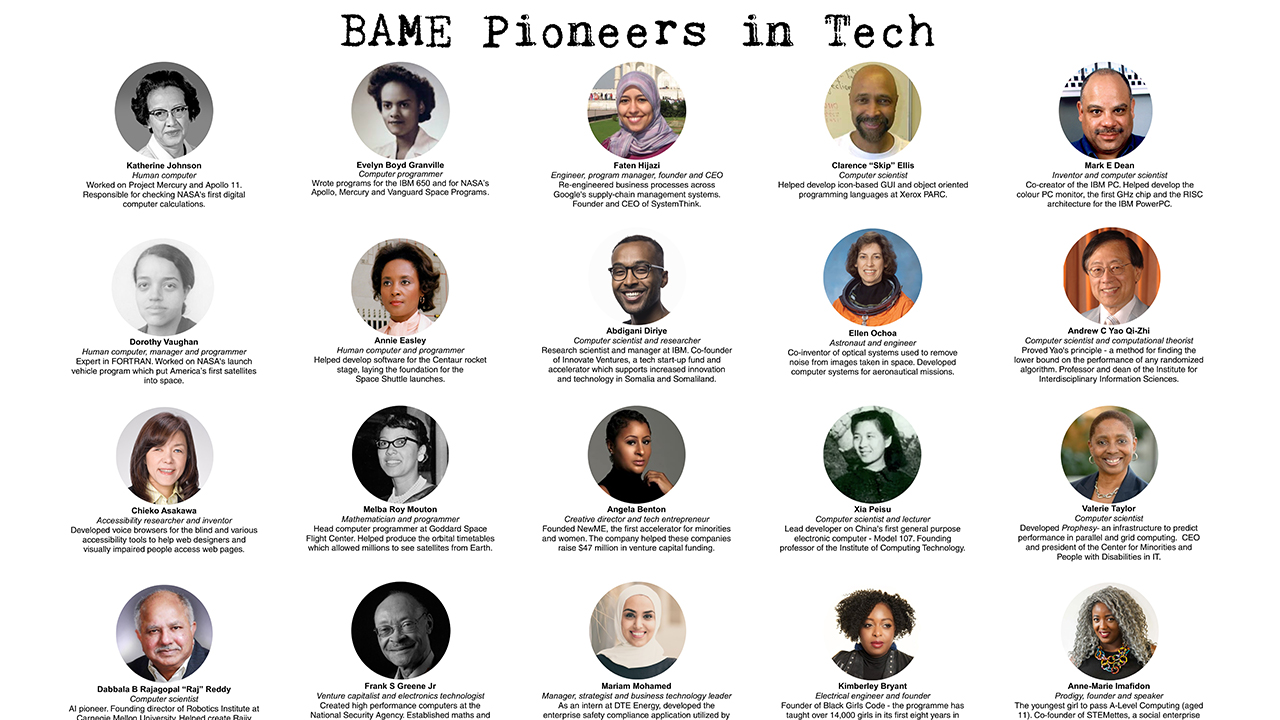 BAME Pioneers in Tech A0 poster